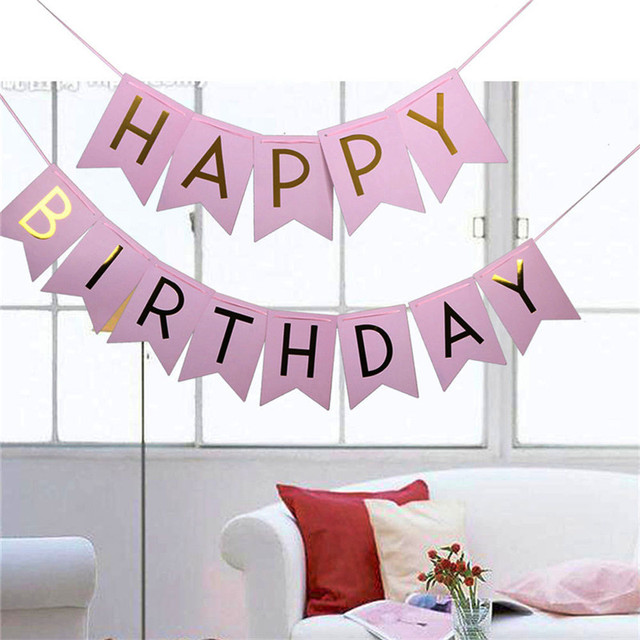 Pastel Pink Happy Birthday Banner Garland Hanging Gold Letters Photo Props Bunting Garland Wedding Decoration Party Event