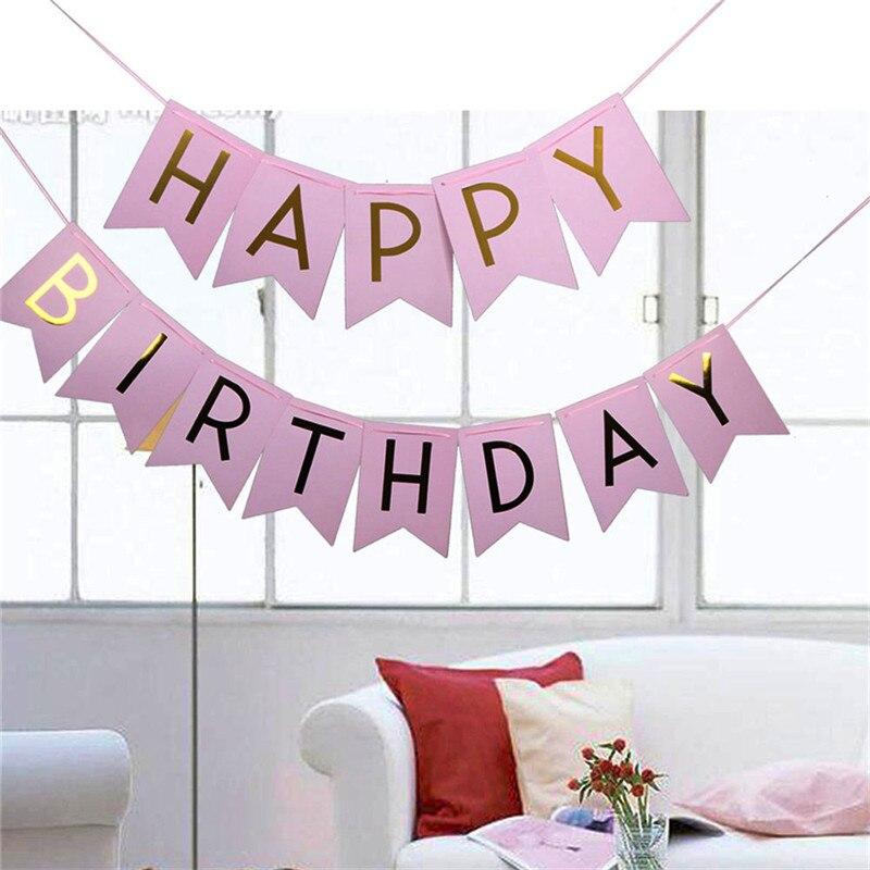 Pastel Rosa Feliz Aniversário Bandeira Guirlanda Pendurado Letras de Ouro Foto Props Bunting Garland Decoração Do Casamento Do Evento Do Partido