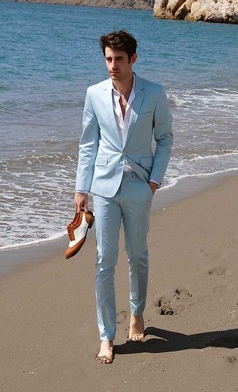 2017 Latest Coat Pant Designs Light Blue Men Suit Beach Wedding ...