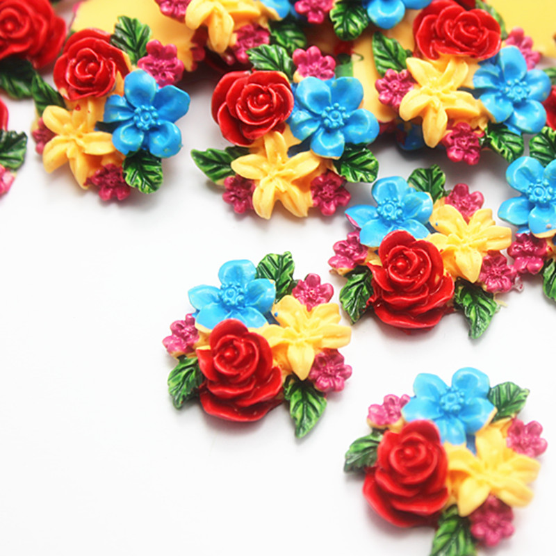 10pcs Cute Exquite Multicolor Painted Resin Flower Flatback Cabochon DIY Decorative Craft Scrapbooking,24*25mm