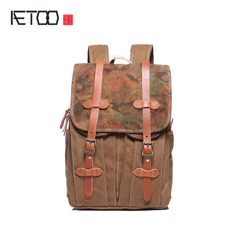 AETOO  New shoulder bag canvas backpack retro trend bag large - capacity cloth ODM aetoo the new canvas shoulder bag tide retro shoulder bag student backpack two color stitching backpack computer bag