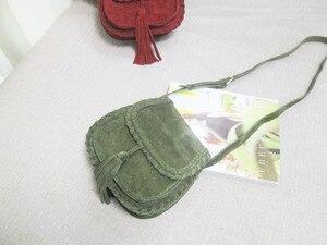 Image 5 - טבעי זמש עור אוכף תיק נשים אמיתי עור מזדמן שליח תיק נשי פנאי טבעי עור פרינג כתף תיק