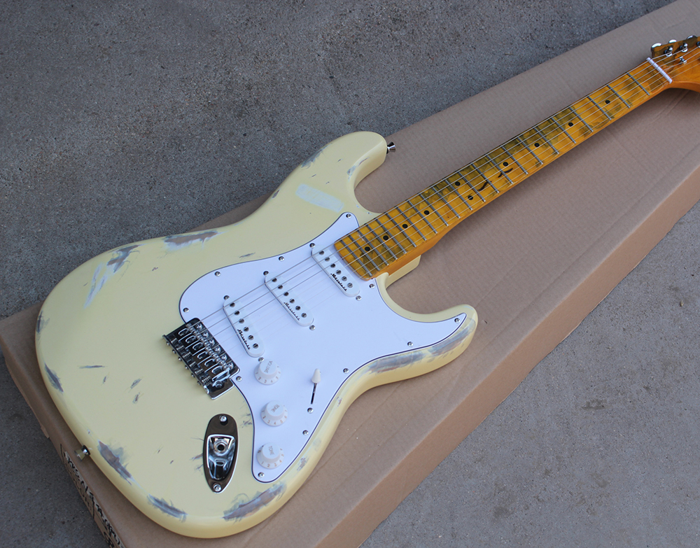 Factory Custom Milk White Retro Body Electric Guitar With Retro Yellow Neck,SSS Pickups,Scalloped Neck,,Offer Customized