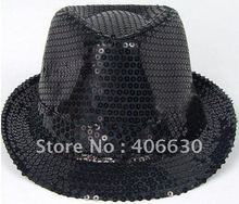Black Sequined Jazz Trilby Hat Chapeu Fedoras Michael Jackson Stage Performance Hats 21pcs/lot Free Shipping By EMS IV-067