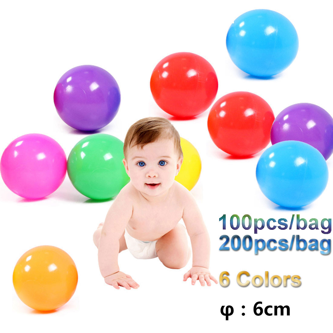 In Quality 100pcs/200pcs/bag Eco-friendly 6 Bright Colors Soft Plastic Water Pool Ocean Wave Ball In Mesh Bag With Zipper Baby Funny Superior