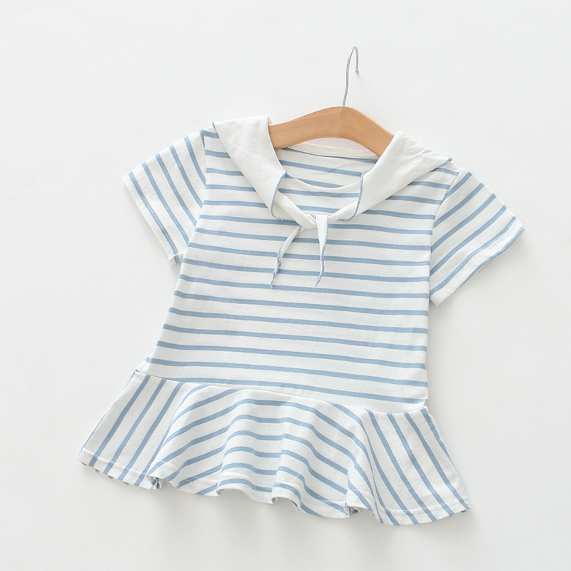 Girl dress 2017 summer kids dresses for girls short sleeve clothes Girl's Sailor Collar striped Nautical Dress children outfit