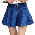 Falbala de las mujeres encima de la rodilla mini falda de la Señora del dril de algodón de Una Línea de falda corta