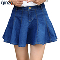 Women's falbala above knee length mini skirt Lady's denim A-Line short skirt