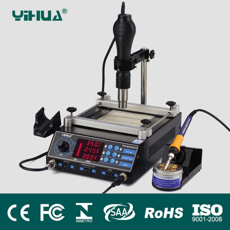YIHUA 853AAA 3 Functions in 1 Bga Rework Station 650W SMD Hot Air Gun+ 60W Soldering Irons +500W Preheating Station Welding too