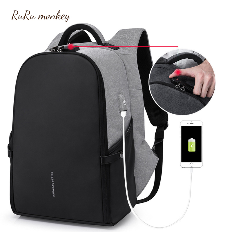 RURU singe Anti-vol sac à dos Usb chargement sac à dos hommes personnalité ordinateur portable affaires voyage sac à dos sacs polyvalents
