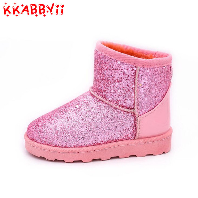 KKABBYII 2018 New Winter Children Snow Boots For Girl Boy Fashion Sequins  Kids Boots Thickened Cotton Shoes EU 25-36 97b9d8a277ec