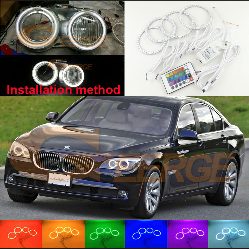 For BMW F01 F02 F03 F04 730d 740d 740i 750i 760i XENON HEADLIGHTS Excellent Multi-Color Ultra bright RGB LED Angel Eyes kit 2pcs white daytime running lights drl led fog lamp for bmw 7 series f01 f02 730i 740i 750i 760i 2009 2012