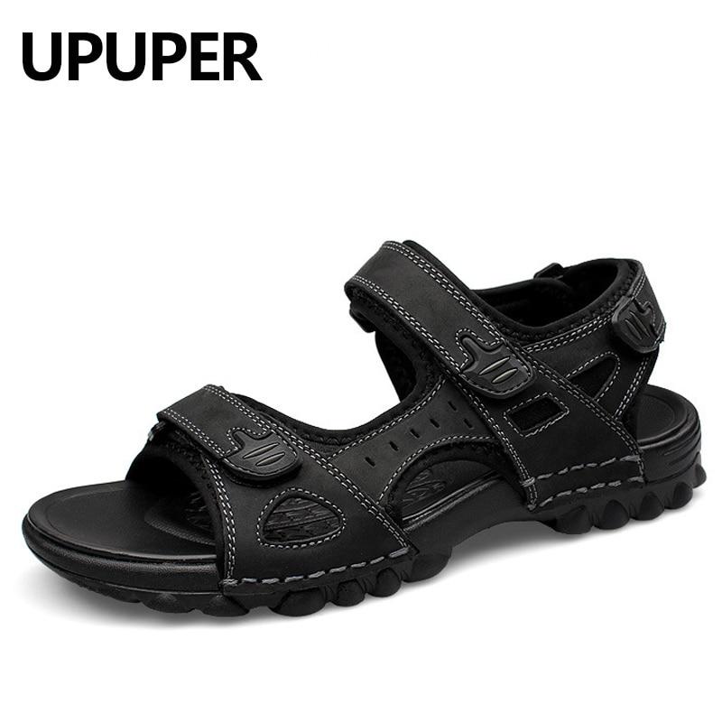 fb2ee7d62da8 UPUPER Leather Men Sandals Summer Fashion Sandals Shoes Men Casual flat  Shoes Black Beach Slippers Man