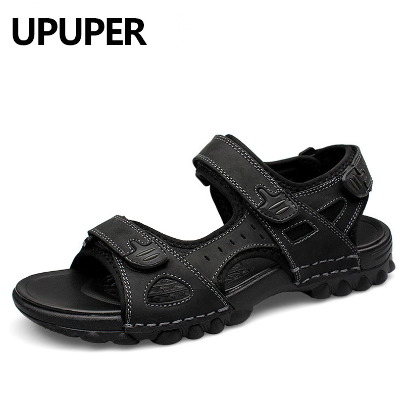 Leather Men Sandals 2018 Summer Fashion Sandals Shoes Men Casual flat Shoes Black Brown Beach Slippers Man sandales homme d ete цена