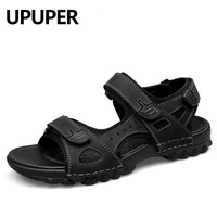 UPUPER Leather Men Sandals Summer Fashion Sandals Shoes Men Casual flat Shoes Black Beach Slippers Man sandales homme d ete
