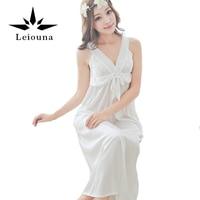 Leiouna 2017 Summer Style Sexy Lingerie Strap Nightgown Black Solid Sleepwear Quality Lace Sleep Shirt Women