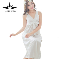 Leiouna 2017 Summer Style Sexy Lingerie Strap Nightgown Black Solid Sleepwear Quality Lace Sleep Shirt Women