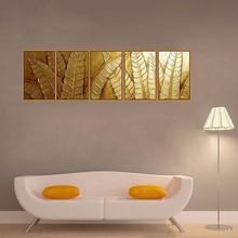 100% Hand Painted high quality wall decoration Oil Painting huge leaf golden large Wall Art Home Decor 5pcs Set Free Shipping