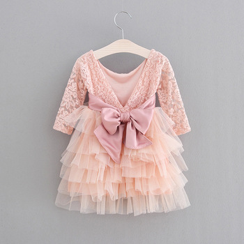 5225 V-Back Big Bow Lace Princess Party Girls Wedding Dress Tutu Spring Kids Dresses For Girls Wholesale Baby Girl Clothes 5PLot