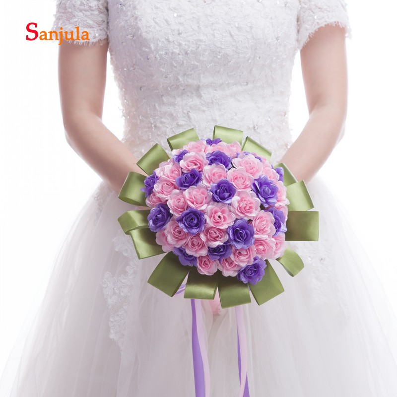 Pink Purple Handmade Rose Flowers Bridal Bouqet with Green Ribbons Artificial Bridesmaid Flower Bouquet ramo novia boda WB10