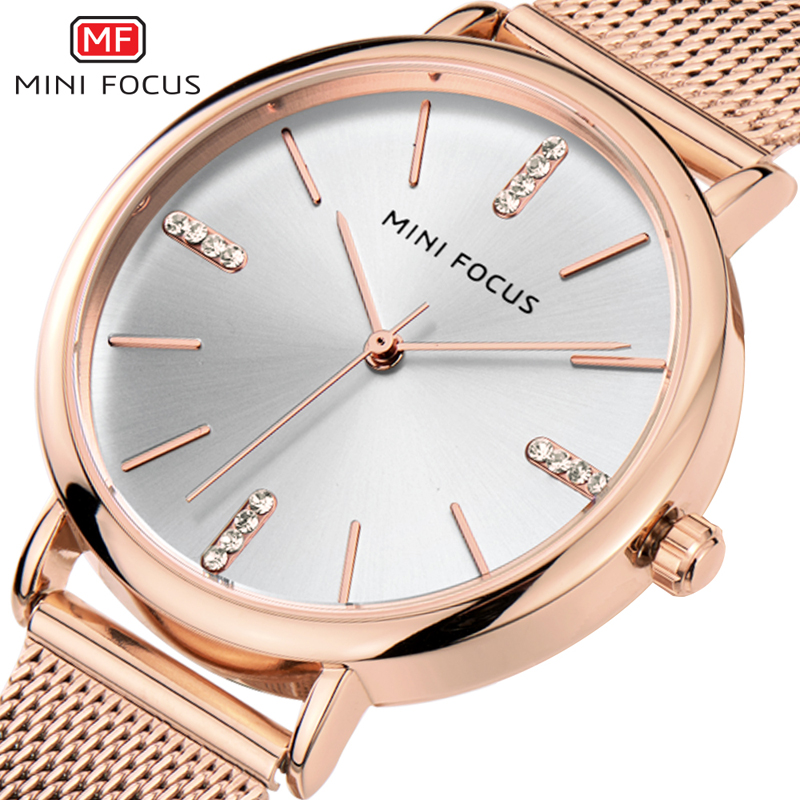 MINIFOCUS Luxury Women Watches Casual Waterproof Ladys Watch Fashion Casual Wristwatches Montre Femme Relogio Feminino Rose Gold