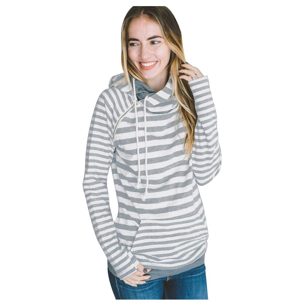 Women Winter Fashion Women Striped Turtleneck Sweatshirt Printed Patchwork Hoodies Pullover Long Sleeve Women Hooded Tops Blou