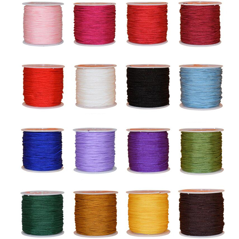 1 Roll 45M X 0.8mm Nylon Chinese Knot String For Macrame Necklace Bracelet Braided Cord Tassels Beaded Thread String Silk Wire