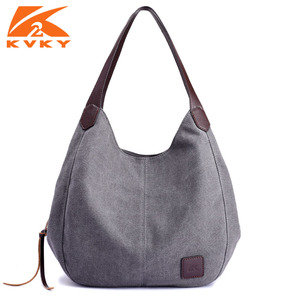 Image 1 - Canvas Bag Vintage Canvas Shoulder Bag Women Handbags Ladies Hand Bag Tote Casual Bolsos Mujer Hobos Bolsas Feminina 2020