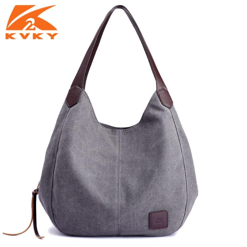 KVKY Canvas Bag Vintage Canvas Shoulder Bag Women Handbags Ladies Hand Bag Tote Casual Leisure Bolsos