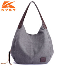KVKY Canvas Bag Vintage Canvas Shoulder Bag Women Handbags Ladies Hand Bag Tote Casual Leisure Bolsos Mujer Hobos Large
