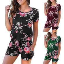 Women Floral Print Short Sleeve Overalls for women Jumpsuit Summer Playsuit Beach Rompers streetwear women clothes 2019(China)