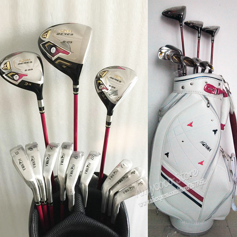 New womens Golf Club Honma S-03 3 star club Completi set Mazze Da Golf Drive + legno + ferri Da Golf Grafite albero e Trasporto Libero del sacchetto