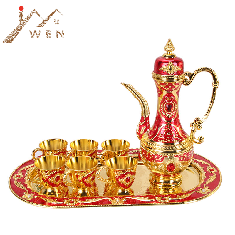 Metal Crafts Coffee Set Wine Set European Tea Sets Creative Hotel/ Home Room Table Decoration 1 set= 1 plate+ 1 pot +6 cups