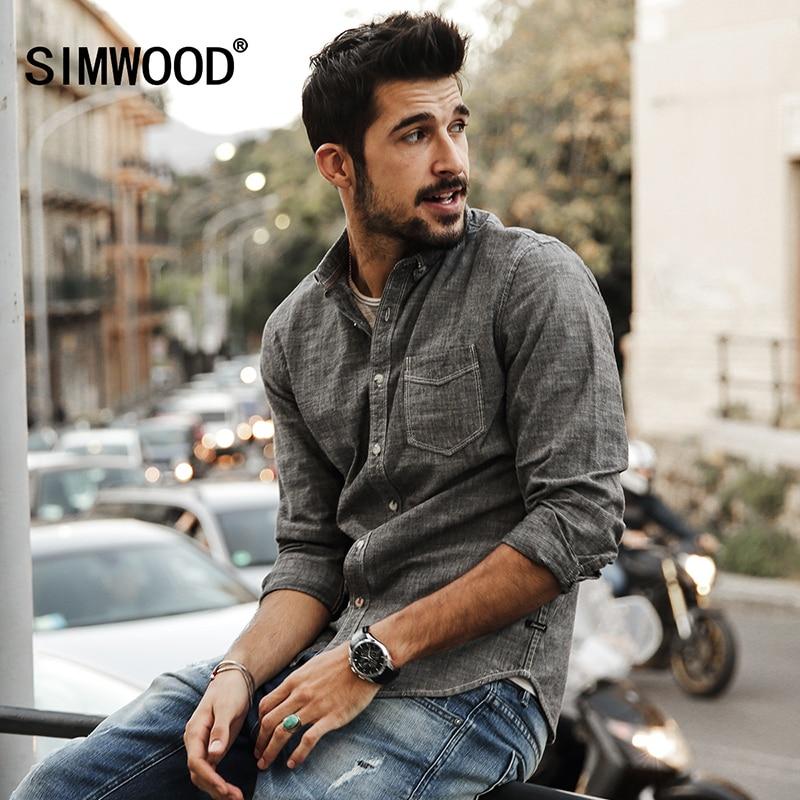 SIMWOOD 2017 New Autumn Summer Casual Shirts Men 100 Pure Cotton Slim Fit Plus Size CS1577