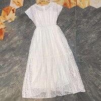 2019 летнее платье, длинное шифоновое однотонное платье с круглым вырезом, роскошное высококачественное Платье с принтом, белое кружевное пл