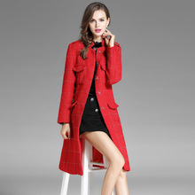 YQM Plaid slim long wool coats 2017 new brand runway women winter coats top quality fashion office lady wool coats