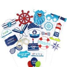 Морской фото стенд реквизит 21 шт День рождения украшение малыш Ahoy мальчик ребенок душ морской матросский тематические праздничные товары для дня рождения