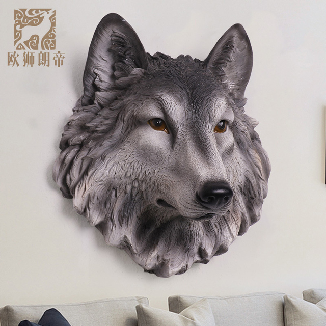 Head Arts Crafts New Wall Coverings Of European Simulation Langtou Living Room Office Bar Decorated Resin Animal Mural