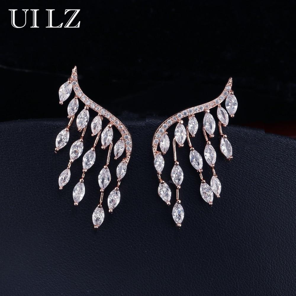 UILZ Japan And Korea Style Stud Earrings Cubic Zircon Angel Wings Earrings For Women Fashion Wedding Jewelry UE598 pair of stylish rhinestone angle wings stud earrings for women