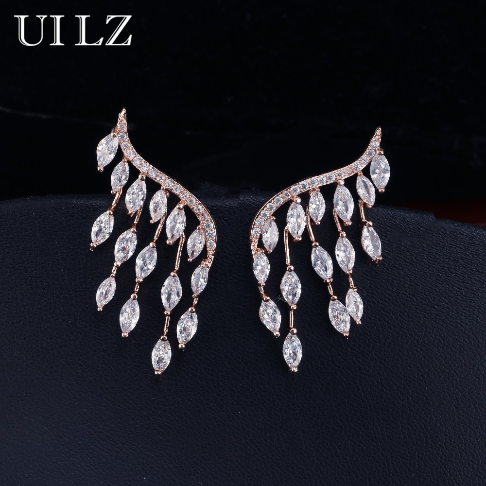 UILZ Japan And Korea Style Stud Earrings Cubic Zircon Angel Wings Earrings For Women Fashion Wedding Jewelry UE598