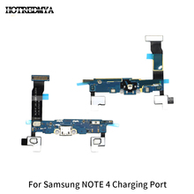 цена на Note4 Charging Flex Cable For Samsung Galaxy Note 4 N910F Microphone USB Charger Port Socket Dock Connector Replacement