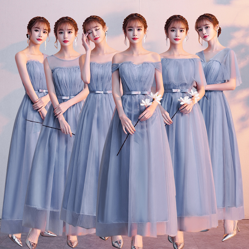 Bule Gray Burgundy Bridesmaid Dresses Plus Size Junior For Wedding Guest Sexy Sister Elegant Tulle Long Prom Dress Pink Bridal