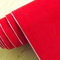 Hot koop 1.35x15 m air release channel auto fluwelen stof film fluwelen vinyl auto wrap Rood