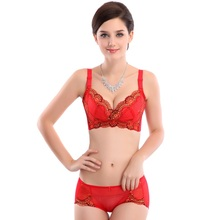 Plus Size Bra And Panty Sets 2017 Wire Free 3/4 Cup Sexy Lingerie Hot Sale Elegant Embroidery Solid Thin Lace Bras Push Up 90E