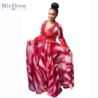 MisShow Sexy V Neck Long Sleeve Women Plus Size Printed Dress Casual Loose 5 XL Chiffon Maxi Dress for Women Dress Autumn