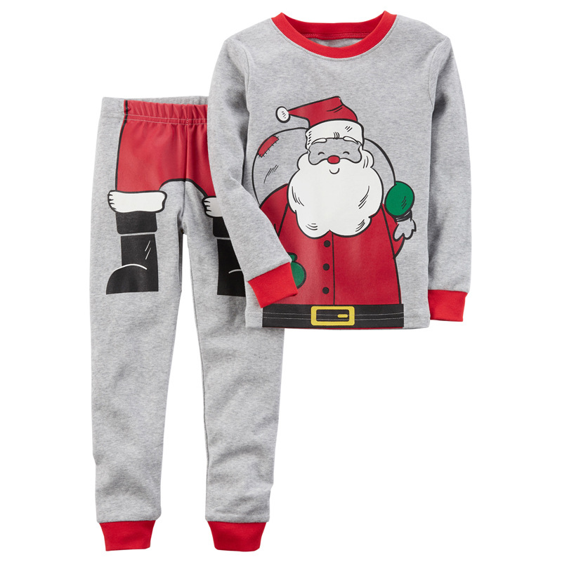1-5T Lovely Kids Boy Girl Christmas Clothing Set Adorable Children Santa Claus Long Sleeve T-shirt Sweatshirt Pants Pajamas Set