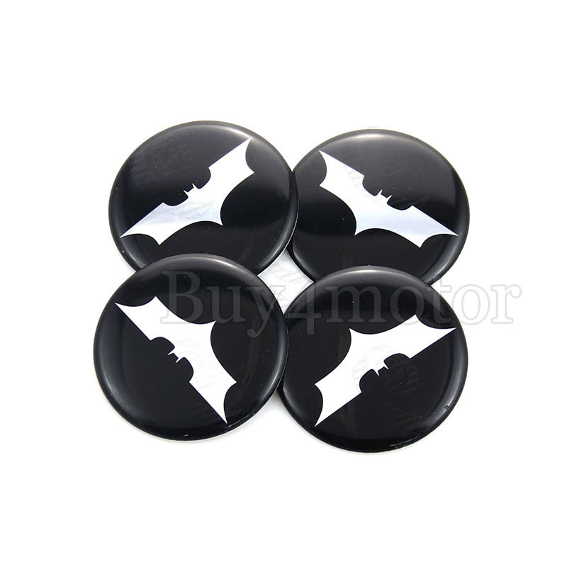 4pcs 50MM Batman Logo The Dark Knight Universal Car Steering Wheel Center Hub Cap Emblem Badge Decal Symbol Wheels Sticker 4682