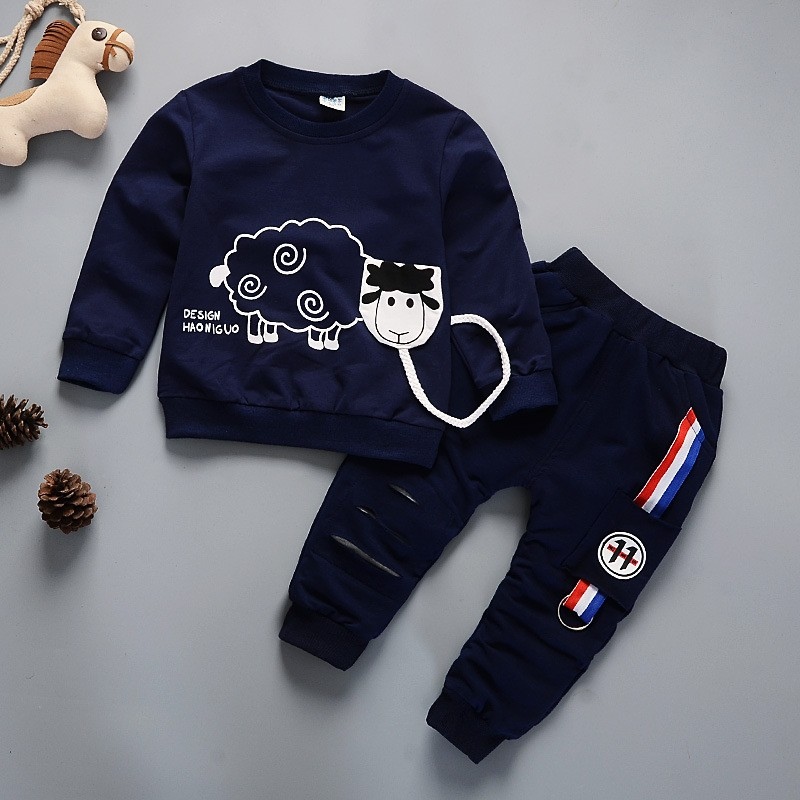 Kids Winter Clothes Cute Sheep Print T-shirt Set Comfortable Warm Boys Children Clothing Girl Winter Clothes For Kids 3 years fashion baby girl t shirt set cotton heart print shirt hole denim cropped trousers casual polka dot children clothing set
