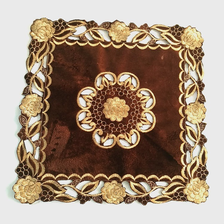 Coffee Velvet Hollow Embroidery High Quality Western Food Mat Coaster Small Furniture Dust Cover Hotel Table Decoration Placemat