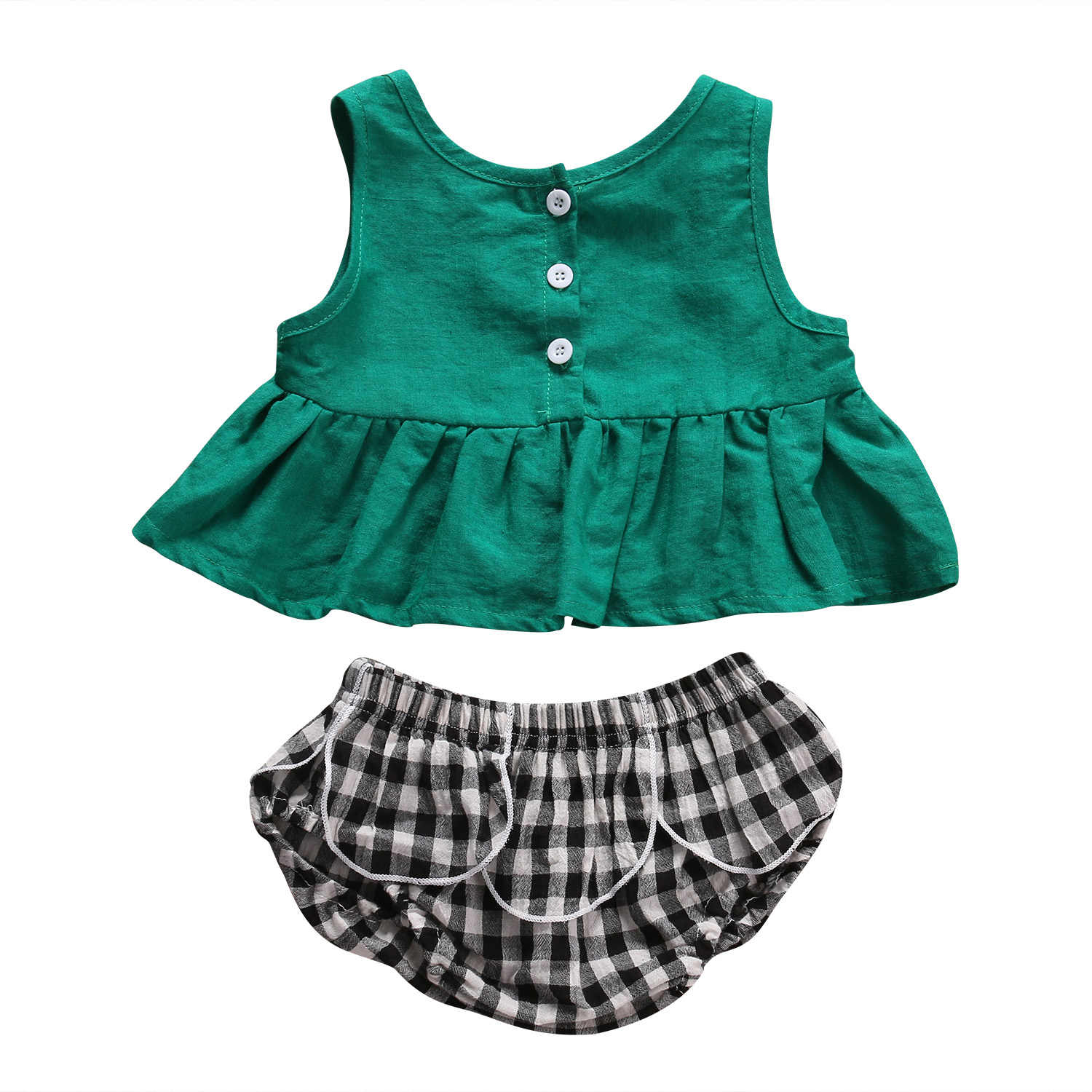 2pcs Newborn Toddler Infant Baby Girl Outfits Clothes Green Sleeveless Button T-shirt Tops+Plaids Bottom Shorts Clothes Sets
